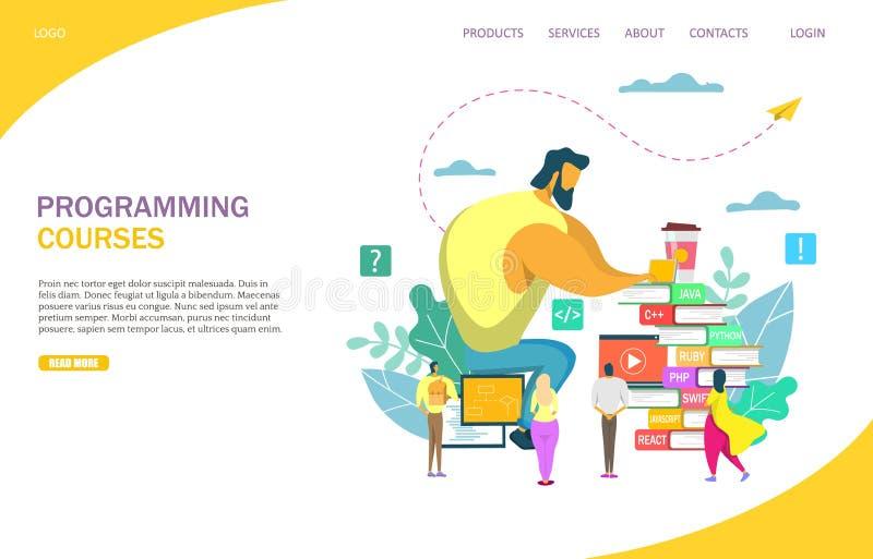 Ontwerpsjabloon van het de websitelandingspagina van programmeringscursussen de vector vector illustratie