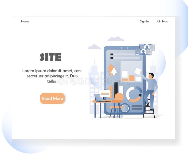 Ontwerpsjabloon van het de websitelandingspagina van de Webontwikkelaar de vector