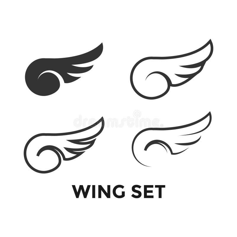 Ontwerpsjabloon van het vleugel de vastgestelde grafische pictogram stock illustratie