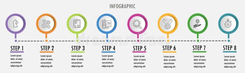 Ontwerpsjabloon van lijn de minimale Infographic vector illustratie
