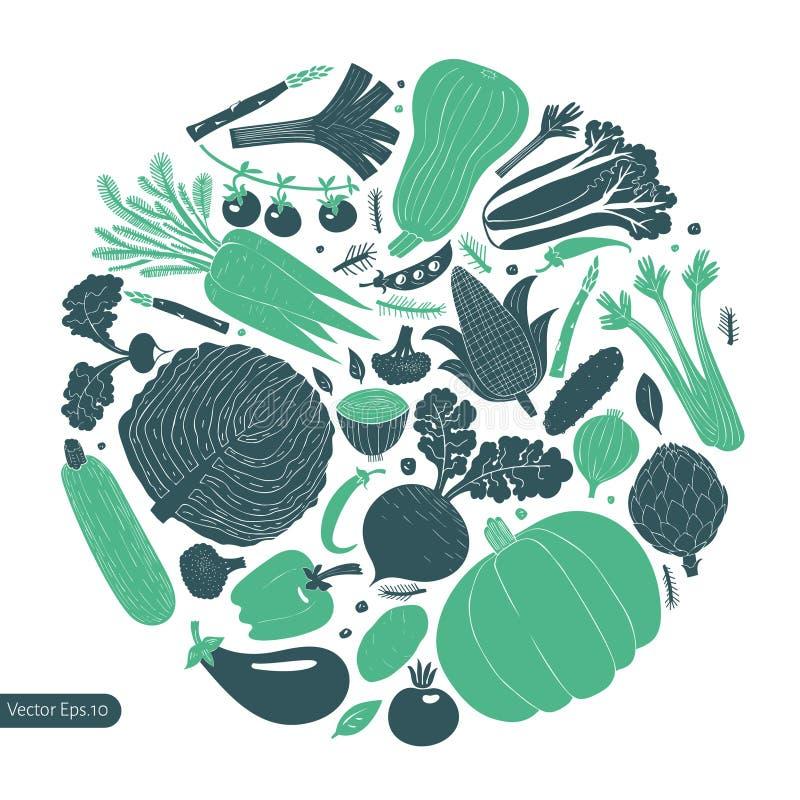 Ontwerpsjabloon van pret de hand getrokken groenten Zwart-wit grafisch De achtergrond van groenten Linocutstijl Gezond voedsel Ve royalty-vrije illustratie