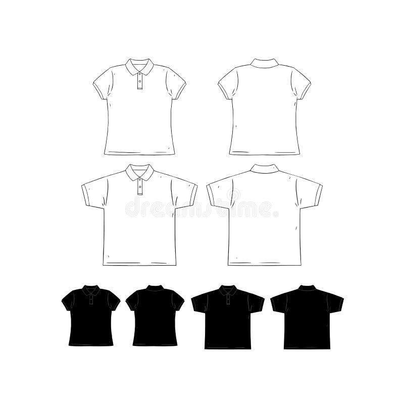 Ontwerpt de hand getrokken vectorillustratie van het lege mannen en vrouwen korte overhemd van het kokerpolo malplaatje Voor en a stock illustratie