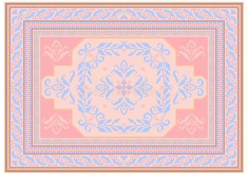 Ontwerptapijt met etnisch ornament van roze en blauwachtige schaduwen en een bloemen blauwachtig patroon in het centrum royalty-vrije illustratie