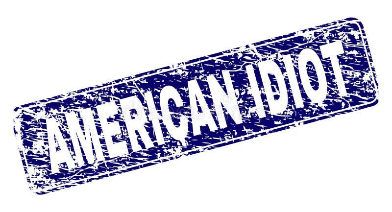 Ontwierp de Grunge AMERIKAANSE IDIOT Rond gemaakte Rechthoekzegel royalty-vrije illustratie
