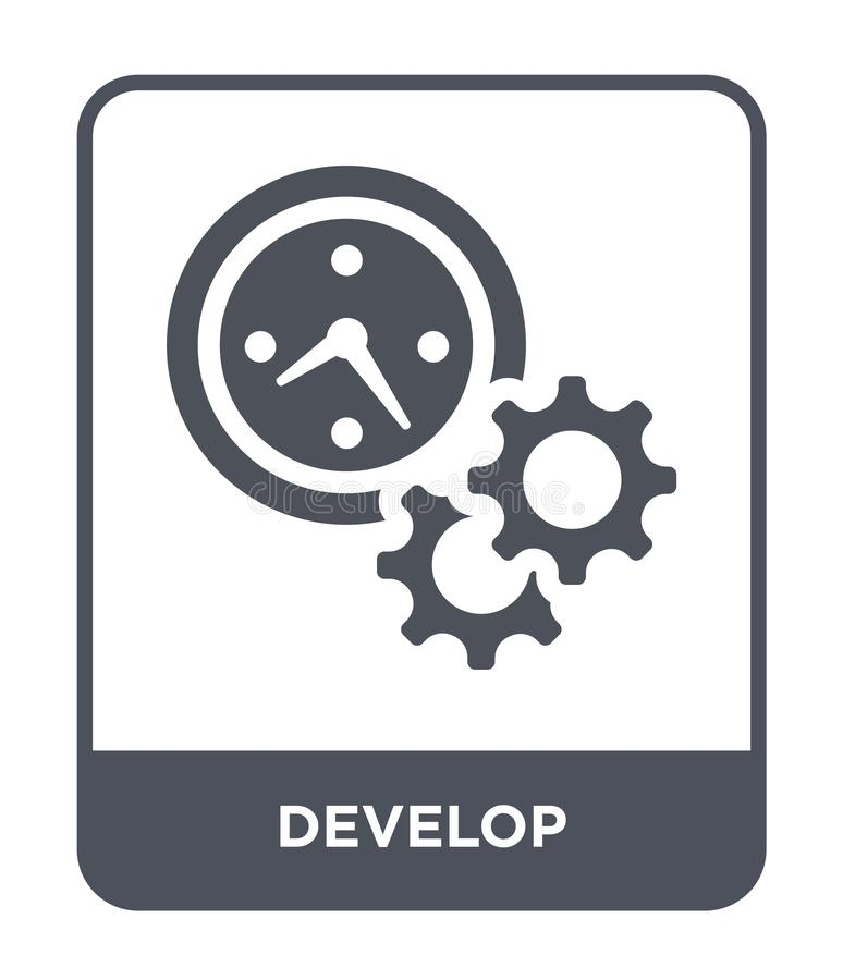 ontwikkel pictogram in in ontwerpstijl ontwikkel pictogram op witte achtergrond wordt geïsoleerd die ontwikkel vectorpictogram ee vector illustratie