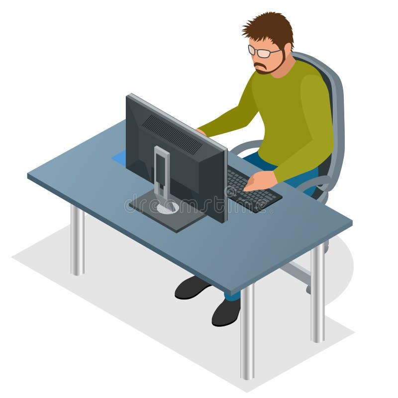 Ontwikkelaar die Laptop Computer met behulp van Het concept van de Webontwikkeling Web programmeringsconcept Programmering, het c stock illustratie