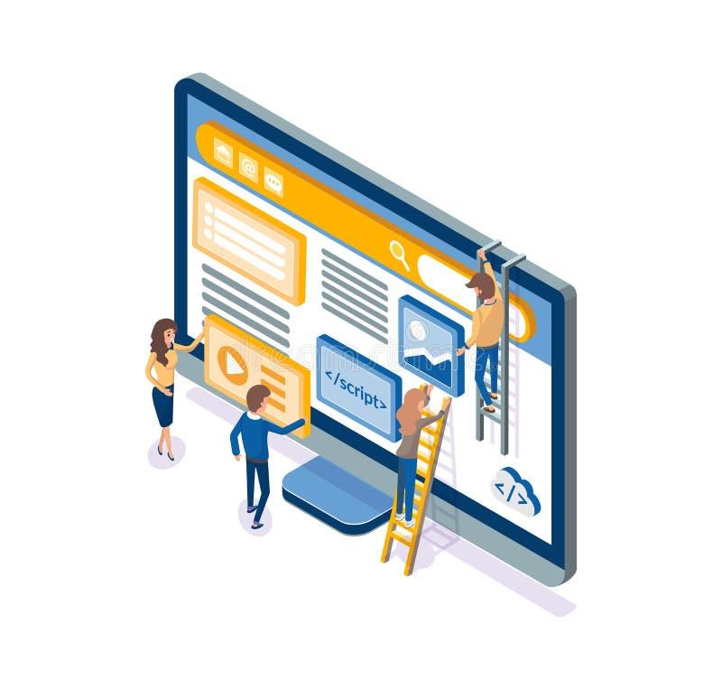 Ontwikkelaars die bij de Optimalisering van de Webontwikkeling werken stock illustratie