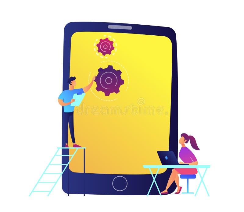 Ontwikkelaars en reusachtige mobiele telefoon met toestellen vectorillustratie royalty-vrije illustratie