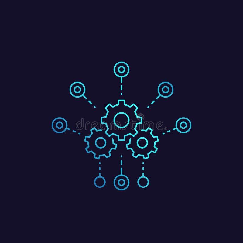 Ontwikkeling, het vectorpictogram van de softwareintegratie stock illustratie