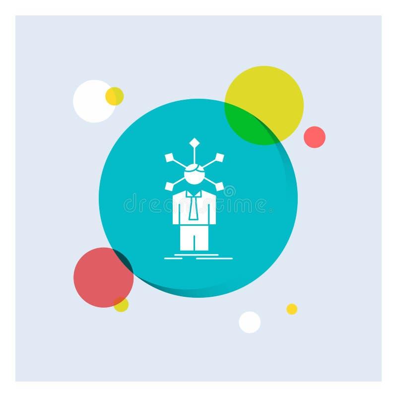 ontwikkeling, mens, netwerk, persoonlijkheid, de zelf Witte Glyph-Achtergrond van de Pictogram kleurrijke Cirkel stock illustratie
