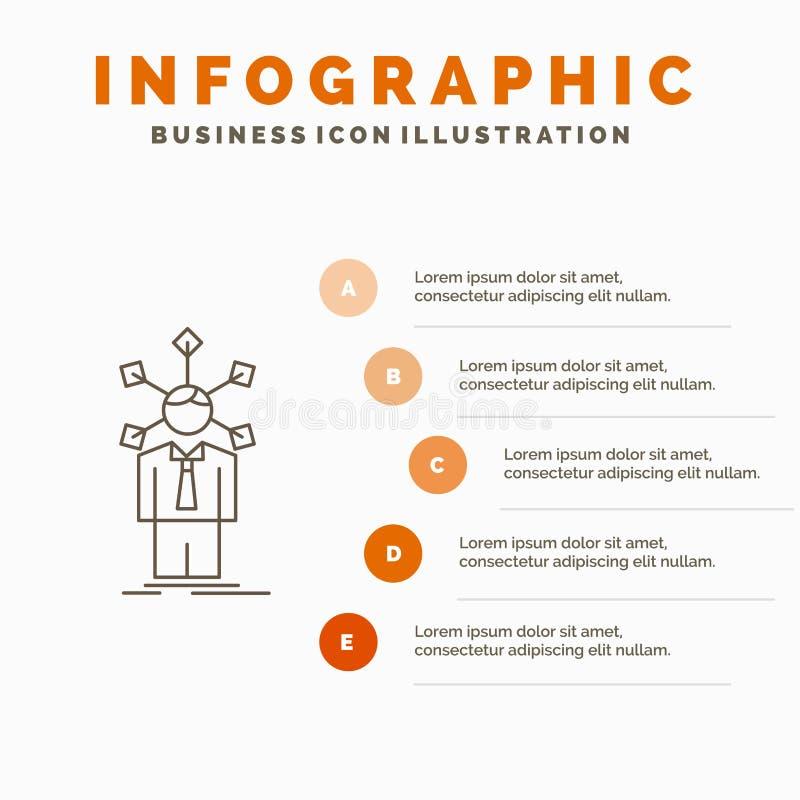 ontwikkeling, mens, netwerk, persoonlijkheid, zelfinfographics-Malplaatje voor Website en Presentatie Lijn Grijs pictogram met Si stock illustratie