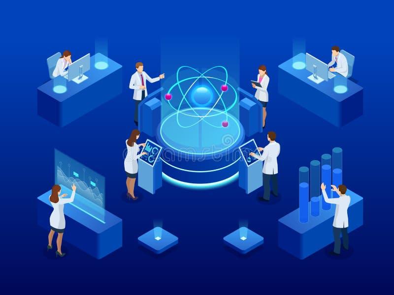 Ontwikkeling van kern of atoomtechnologie Interactie van verschillende studies Isometrische Vectorillustratie royalty-vrije illustratie