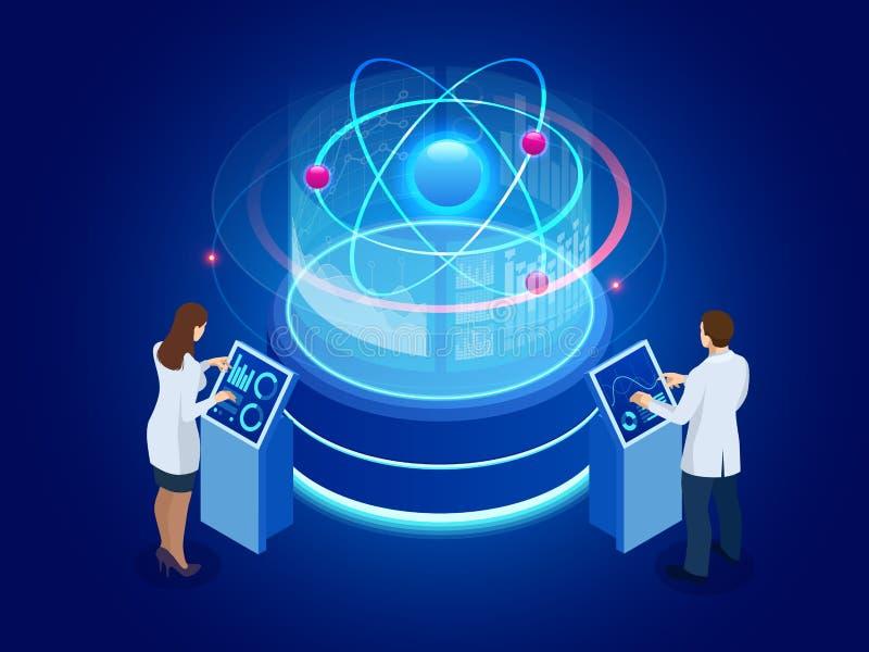 Ontwikkeling van kern of atoomtechnologie Interactie van verschillende studies Isometrische Vectorillustratie vector illustratie