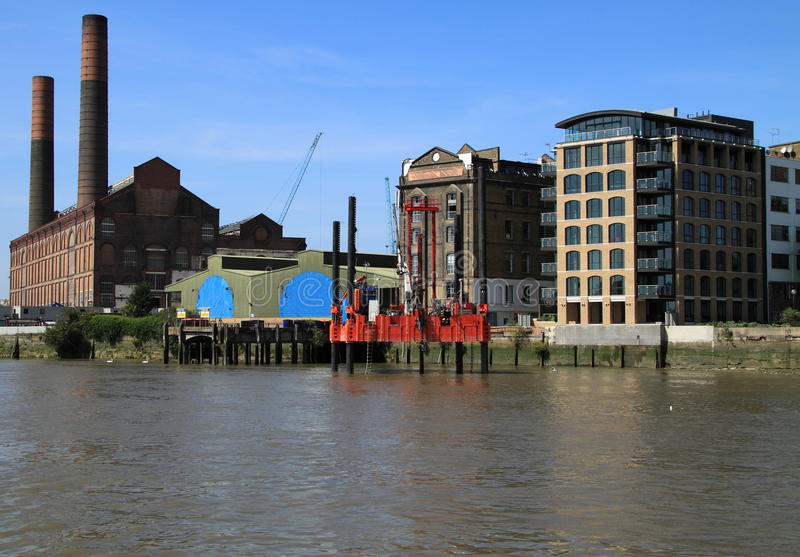 Ontwikkeling van Theems Bankside van de rivier stock afbeeldingen