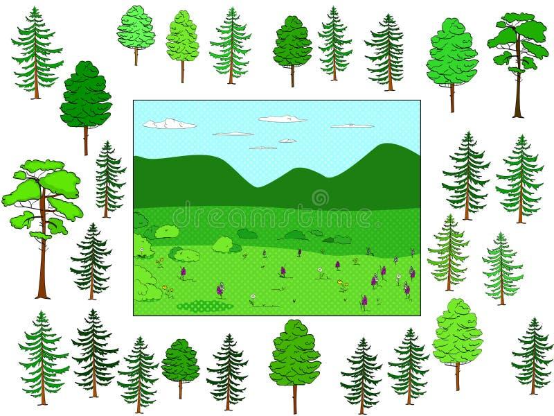 Ontwikkelt kinderenspel, snijd op zijn plaats en zet Achtergrond van natuurlijk bos en open plek, voorwerpen van bomen rooster stock illustratie