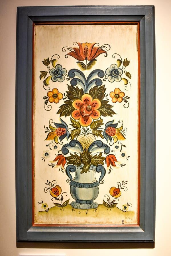 Ontworpen Noors Volksart rosemaling painting stock fotografie