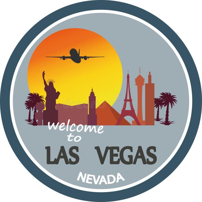 Ontworpen reisetiket, Las Vegas royalty-vrije illustratie