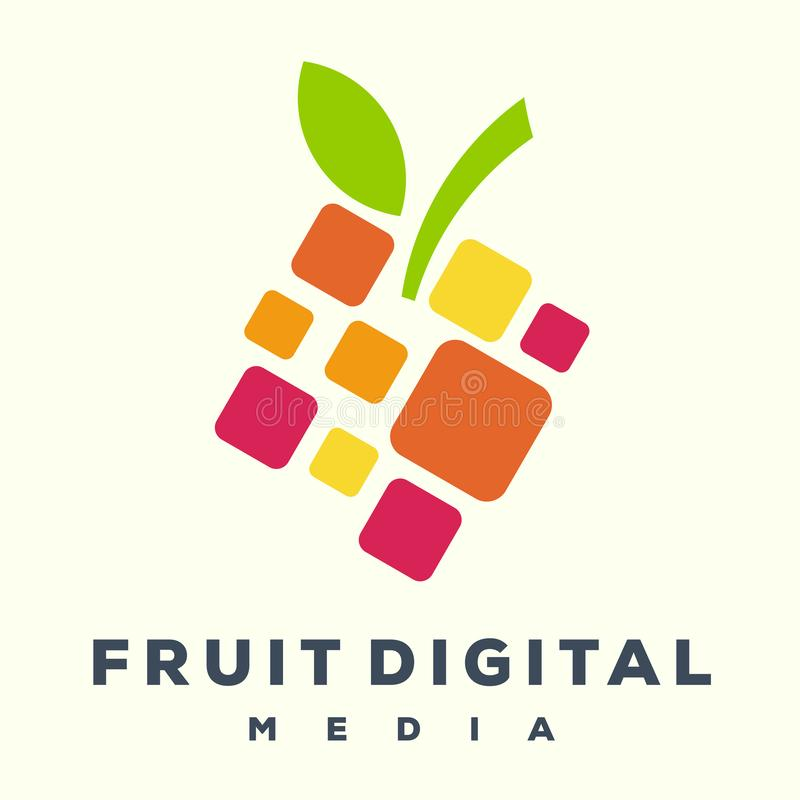 Ontzagwekkend fruit digitaal embleem royalty-vrije illustratie