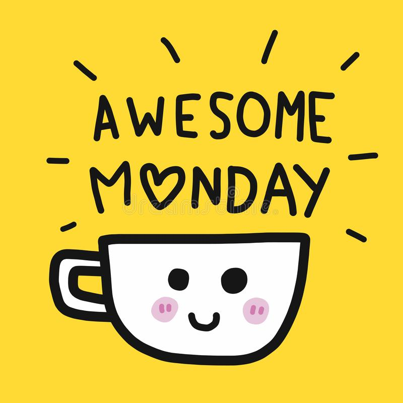 Ontzagwekkend Maandagwoord en het beeldverhaal vectorillustratie van de koffiekop royalty-vrije illustratie