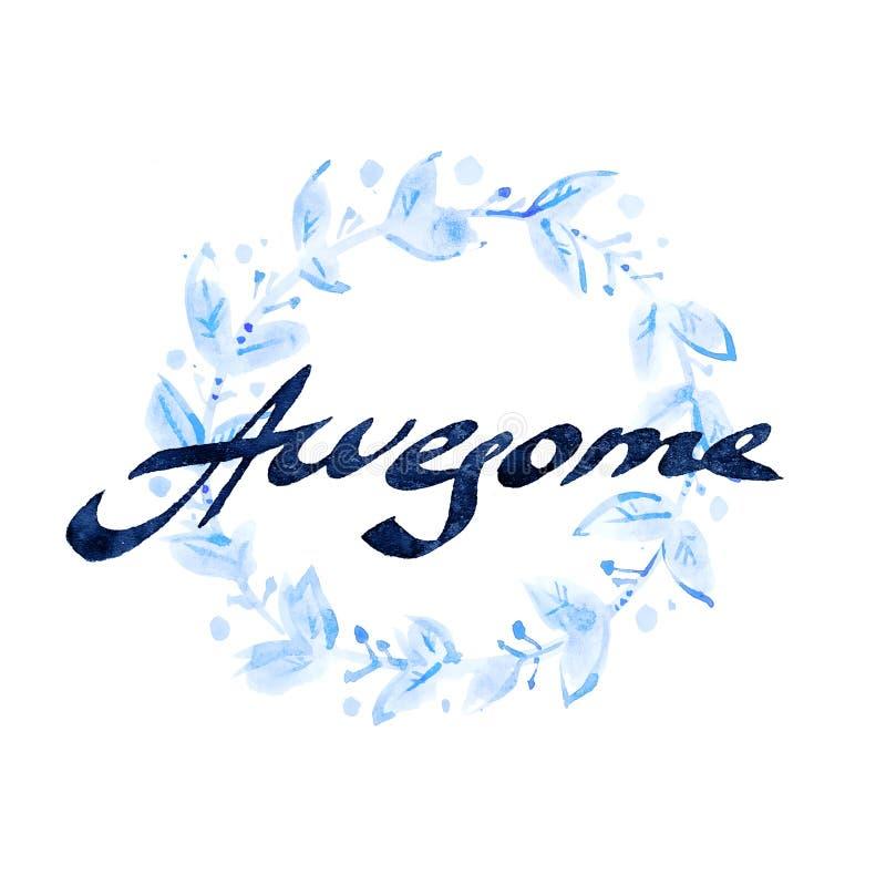 ontzagwekkend Met de hand geschreven inktkalligrafie Hand het van letters voorzien met waterco royalty-vrije stock foto