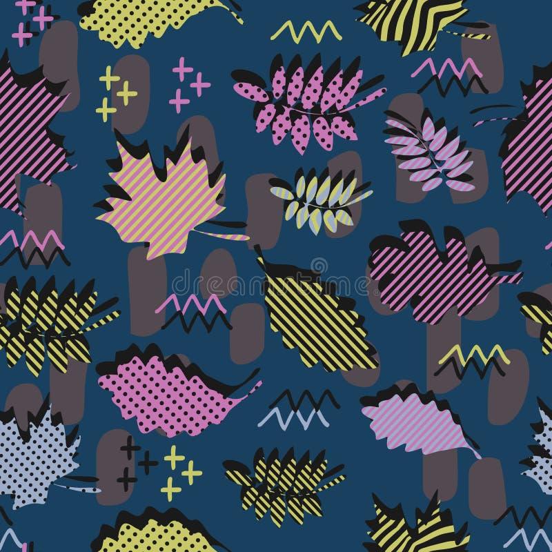 Ontzagwekkend uniek het gebladerte vectorpatroon van de de herfstdaling met de geometrische in kleurrijke samenvatting van Memphi vector illustratie