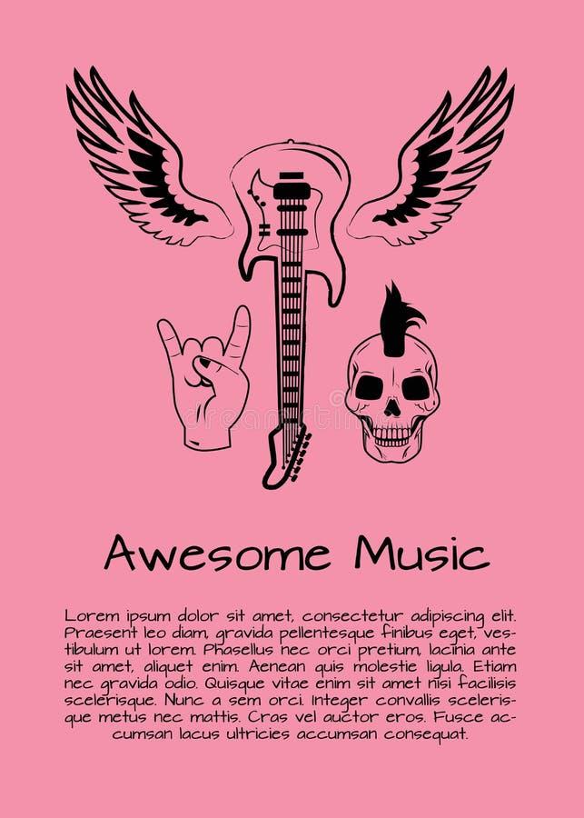Ontzagwekkende de Affiche Vectorillustratie van de Muziekrots stock illustratie