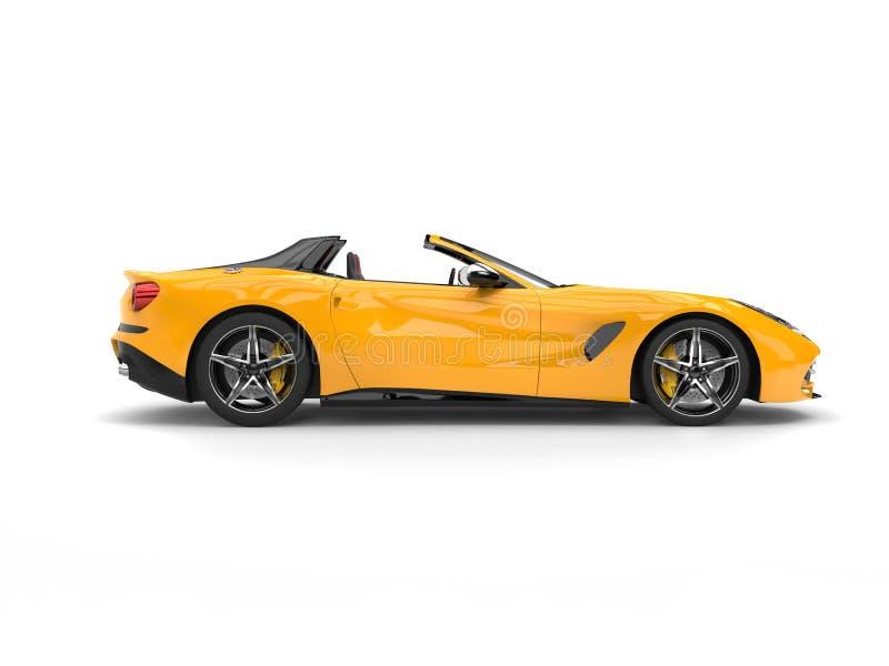 Ontzagwekkende gele moderne cabriolet sportwagen - zijaanzicht royalty-vrije illustratie