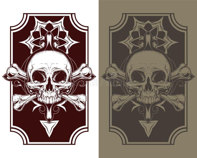 Ontzagwekkende geplaatste tatoegeringsschedel en beenderen vector illustratie