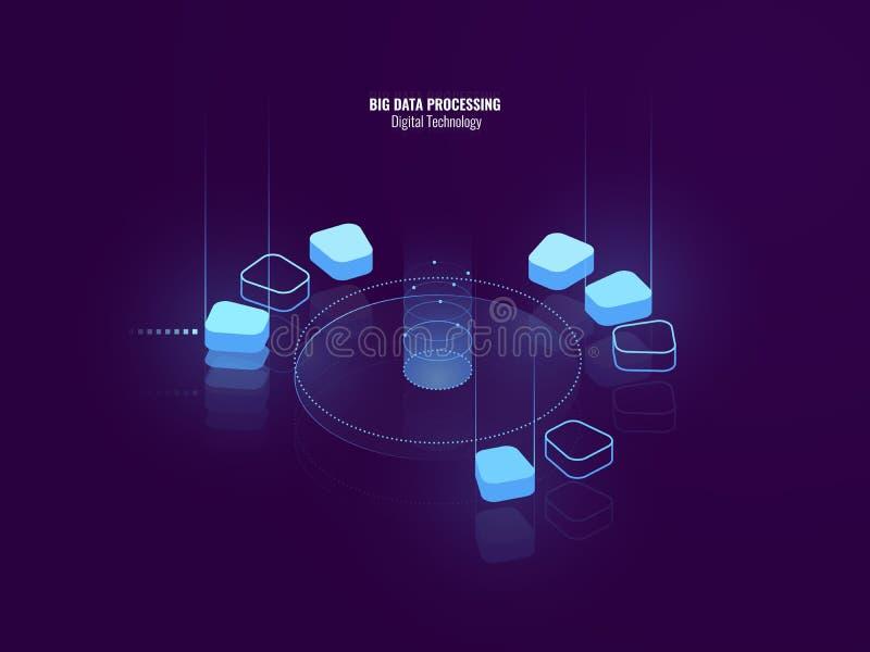 Ontzagwekkende isometrische banner van digitale technologie, isometrisch abstract pictogram van grote gegevens - verwerking, conc vector illustratie