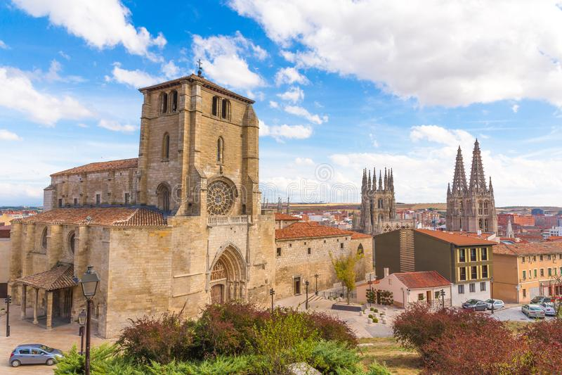 Ontzagwekkende mening over oude stad van Burgos, Spanje, stock afbeeldingen