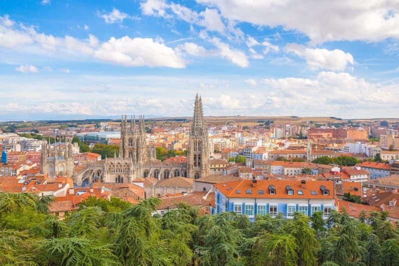 Ontzagwekkende mening over oude stad van Burgos, Spanje, royalty-vrije stock foto