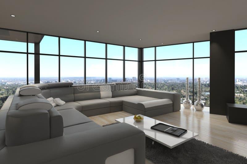 Ontzagwekkende Moderne Zolderwoonkamer | Architectuurbinnenland royalty-vrije stock foto's