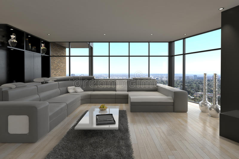 Ontzagwekkende Moderne Zolderwoonkamer | Architectuurbinnenland stock afbeeldingen