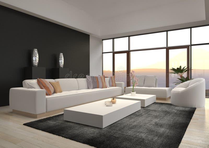 Ontzagwekkende Moderne Zolderwoonkamer | Architectuurbinnenland stock foto's