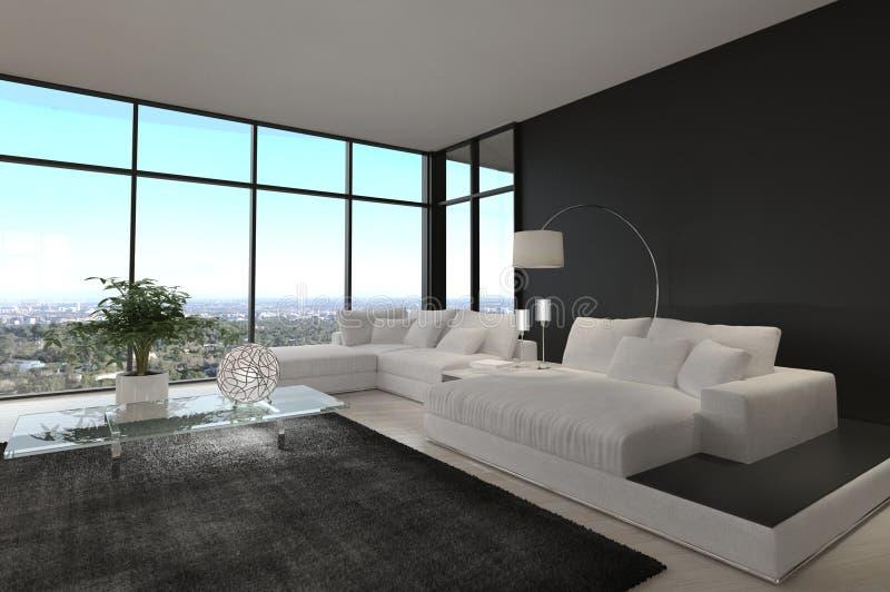Ontzagwekkende Moderne Zolderwoonkamer | Architectuurbinnenland stock foto