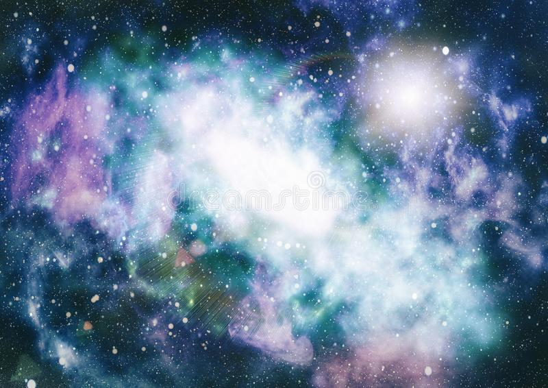 Ontzagwekkende nevel in diepe ruimte Melkweg en nevel Abstracte ruimteachtergrond stock illustratie