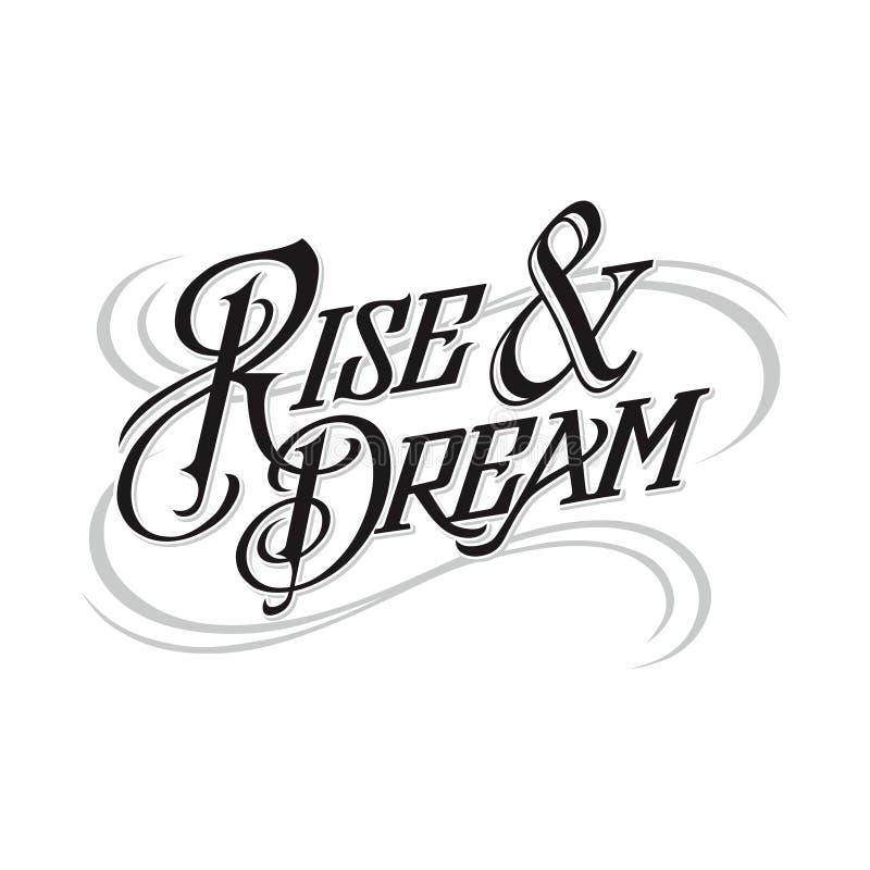 Ontzagwekkende stijging en droom het van letters voorzien borsteltype vector royalty-vrije illustratie