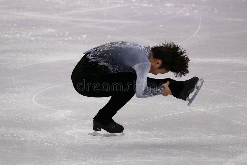 A ONU de Shoma do medalhista de prata de Japão executa no único programa curto de patinagem dos homens nos 2018 Jogos Olímpicos d fotografia de stock royalty free