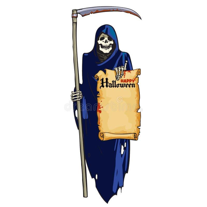 Onverbiddelijke Maaimachine Leuk het lachen skelet met zeis en rol met tekst Gelukkig Halloween in beeldverhaalstijl De hand verd stock illustratie