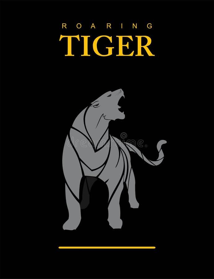 Onverschrokken Tijger in Grijs puma cougar stock illustratie