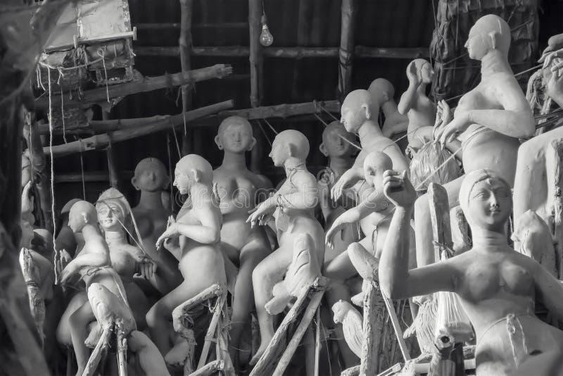 Onvolledig Clay Idols in Kumartuli royalty-vrije stock afbeeldingen