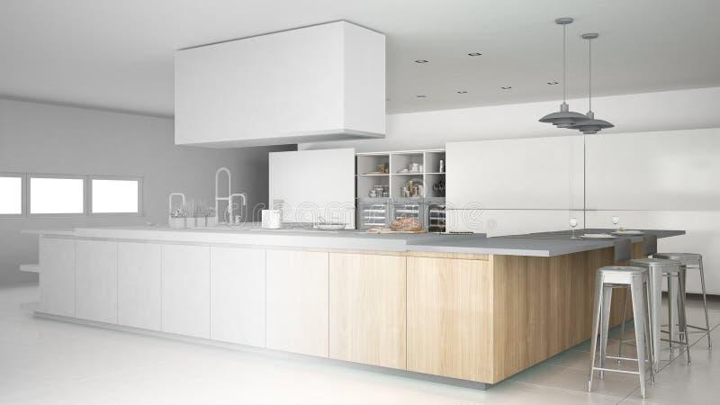 Onvolledig project van minimalistic professionele moderne houten keuken met toebehoren, eigentijds binnenland vector illustratie