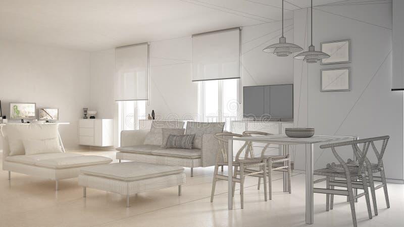 Onvolledig project van moderne eigentijdse woonkameropen plek met eettafel en hoekbureau, huiswerkplaats met computer stock illustratie