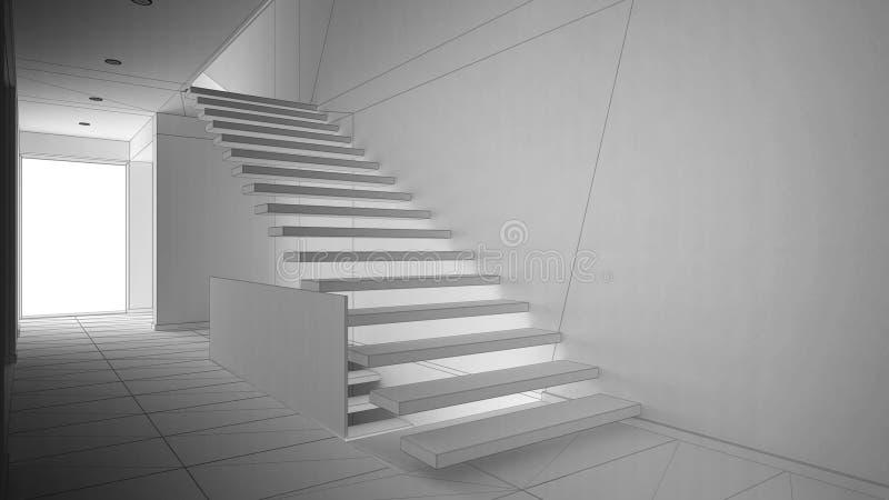 Onvolledig project van moderne hal met houten trap stock illustratie