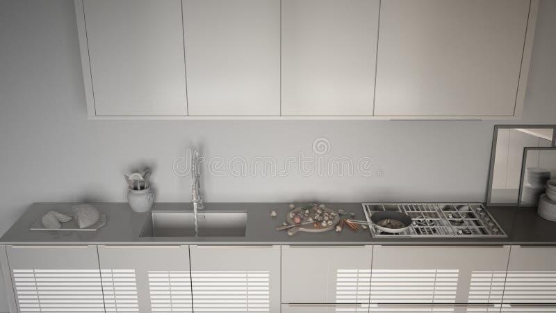 Onvolledig project van moderne keuken met gootsteen en fornuis, cookin royalty-vrije illustratie