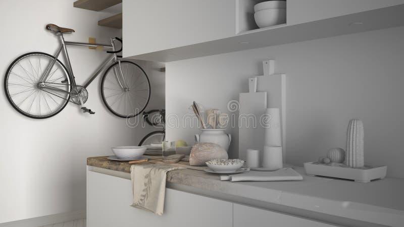Onvolledig projectontwerp van minimalistische moderne keuken dichte omhooggaand met gezond ontbijt, eigentijds architectuurbinnen royalty-vrije stock foto