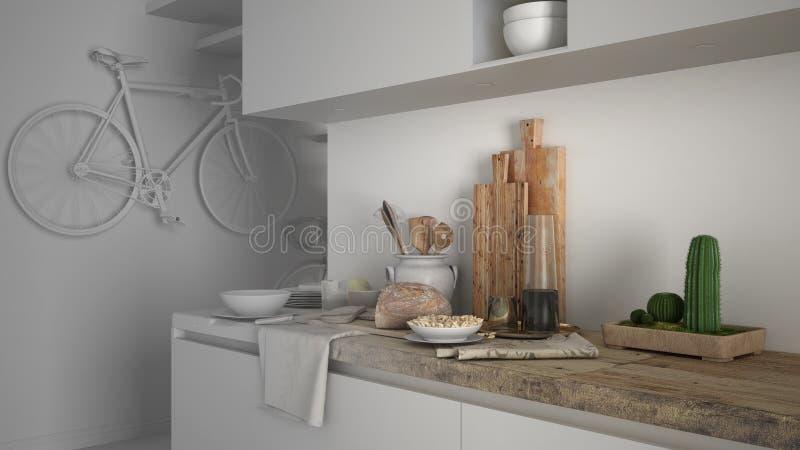 Onvolledig projectontwerp van minimalistische moderne keuken dichte omhooggaand met gezond ontbijt, eigentijds architectuurbinnen royalty-vrije stock foto's