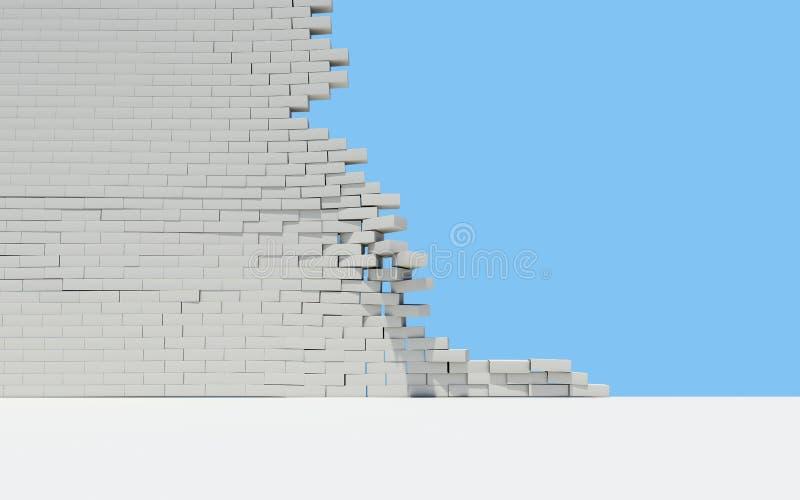Onvolledige bakstenen muur stock illustratie