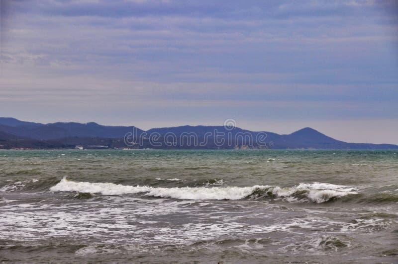 Onweer op de Zwarte Zee royalty-vrije stock foto