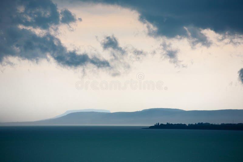 Onweer over Meer Balaton, Hongarije royalty-vrije stock foto's